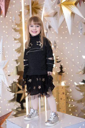 Платье черное детское праздничное с люрексом, молниями и юбкой из сетки