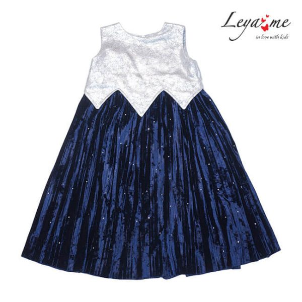Платье детское праздничное с серебристым лифом и плиссированной юбкой из бархата