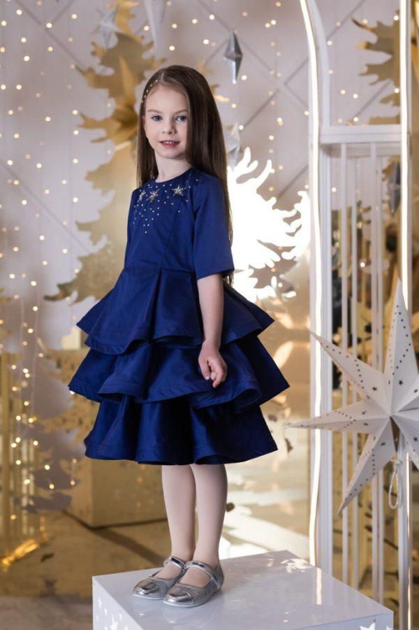 Платье-бабочка детское праздничное синее с воланами
