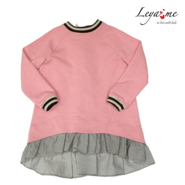 Платье-туника детское нарядное розовое со шнуровкой сзади