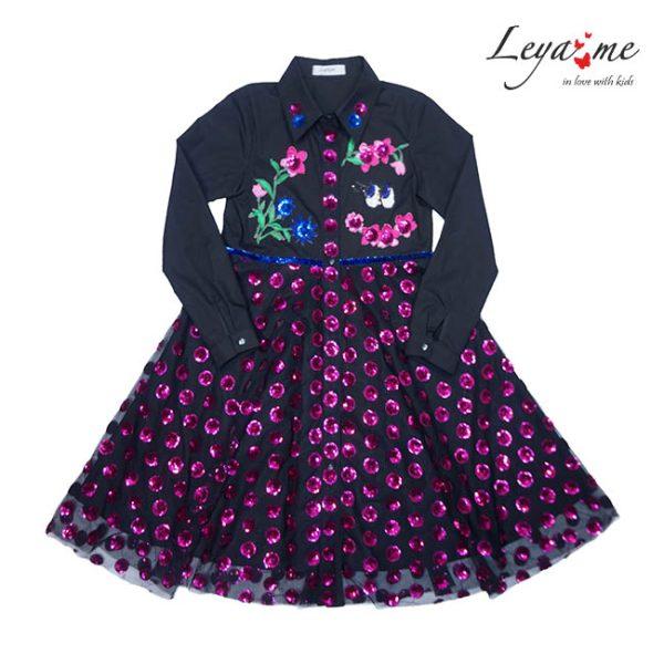 Платье-рубашка на девочку с юбкой из ярко- розовых пайеток