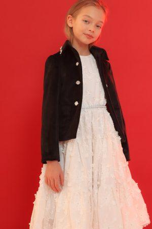 Нарядное белое детское платье из хлопка с шитьем