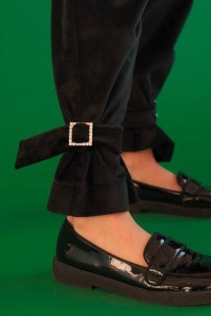 Нарядные черные бархатные детские брюки для девочки