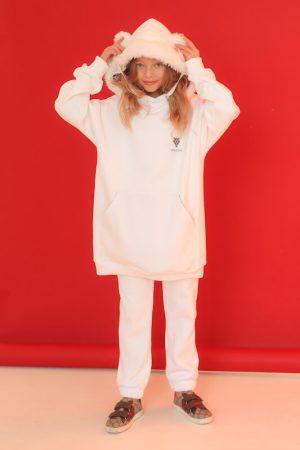 Нарядный белый детский спортивный костюм для девочки, с меховой опушкой на капюшоне