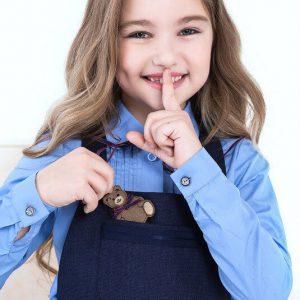 Школьная блузка голубая для девочки с защипами на лифе