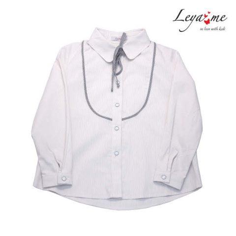 Школьная блузка бежевая для девочки с кокеткой и бантом