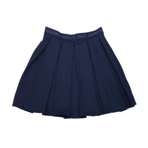 Пышная школьная юбка со складками синяя