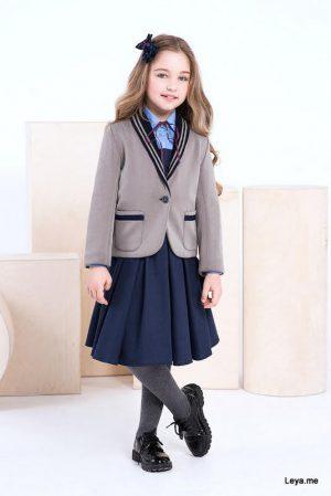 Серый школьный пиджак для девочки с вязаными вставками