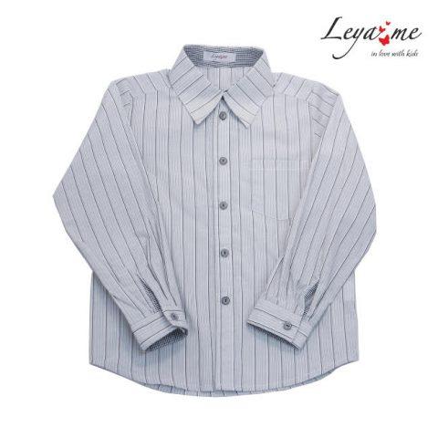 Школьная рубашка для мальчика в полоску с карманом