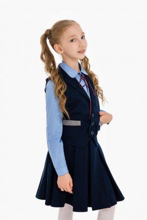 Школьный жилет для мальчика синий с вязаными вставками