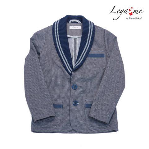 Школьный пиджак для мальчика серый с вязаными вставками