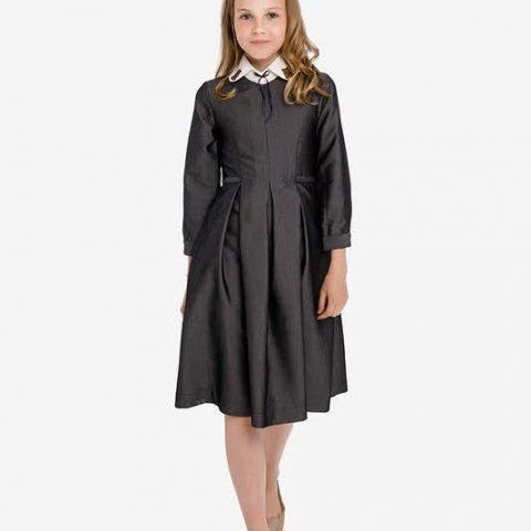 Серое школьное платье со съемным декорированным воротником