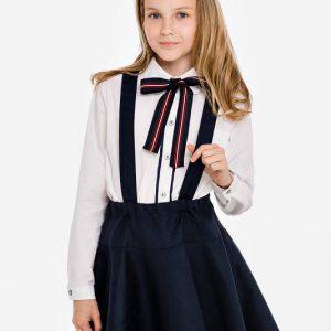 Белая школьная блузка с бантом и контрастной планкой