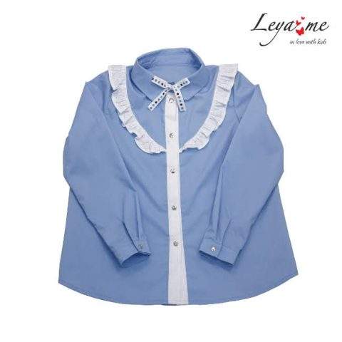 Голубая школьная блузка с воланом белого цвета