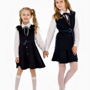 Удлиненный синий школьный жилет для девочки