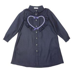 Синее школьное платье-трапеция с сердцем