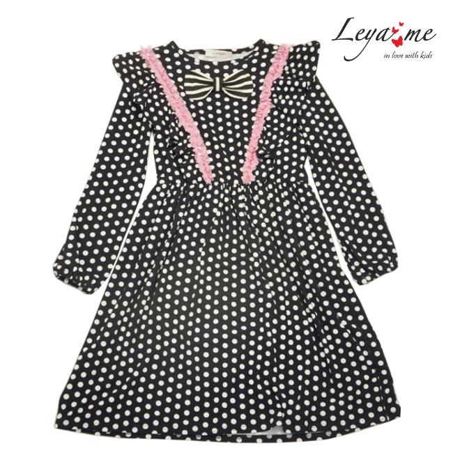 Платье детское трикотажное черное в белый горох с бабочкой и розовой отделкой