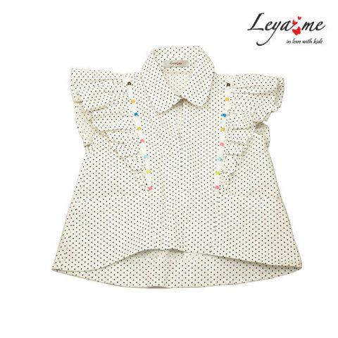 Блузка детская из белого хлопка в мелкий горошек с воланами и отделкой бусинами