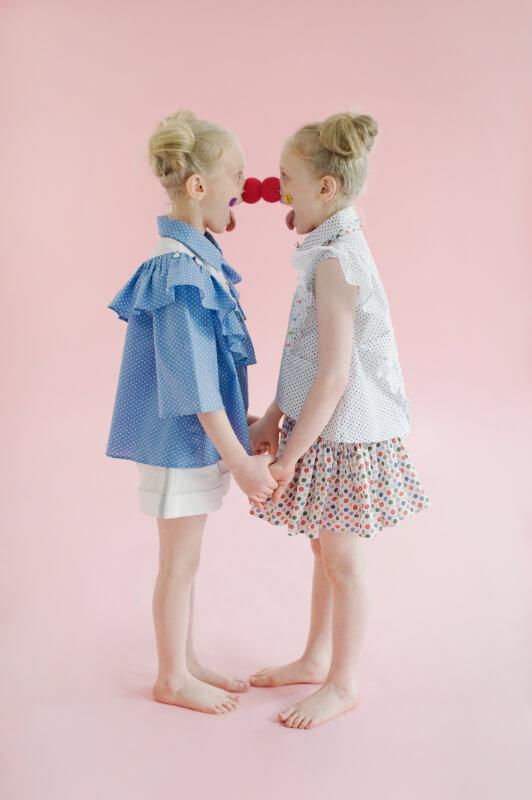 Пышная юбка из хлопка в разноцветный горошек на девочку
