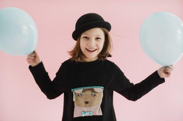 Черная туника детская с имитацией рубашки и мишкой в кармане на девочку