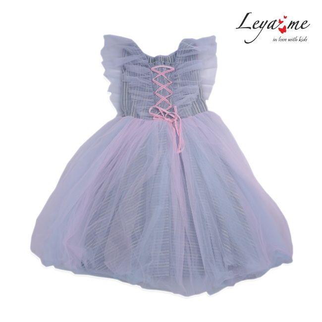 Платье детское с крылышками из фатина розово-голубое на полосатой подложке