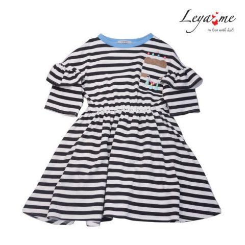 Платье-тельняшка с крылышками, с мишкой в кармане и голубой окантовкой на девочку