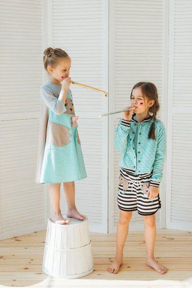 Бомбер детский бирюзово-мятный на полосатой подкладке на девочку 2020 1