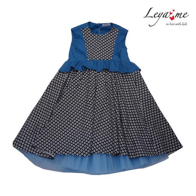 Платье комбинированное с бирюзовыми вставками с баской и подъюбником на девочку