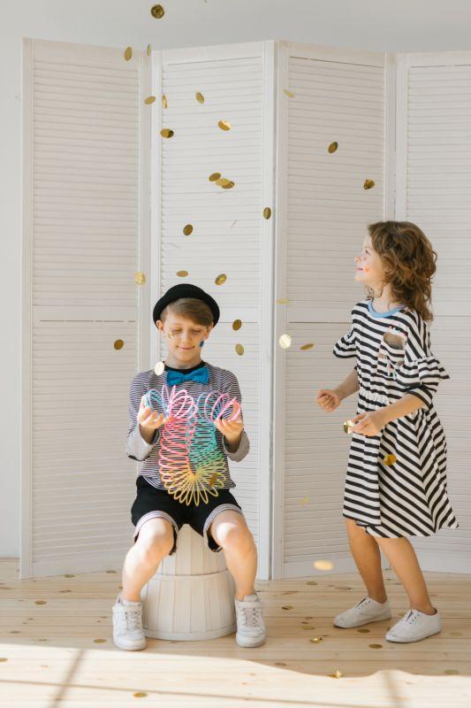 Тельняшка детская с заплатками на локтях и бабочкой на мальчика