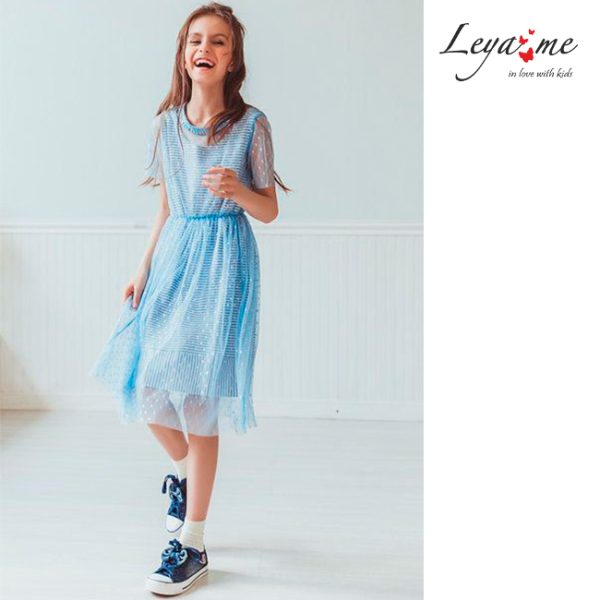 Платье детское из сетки в горошек голубое на полосатой подложке