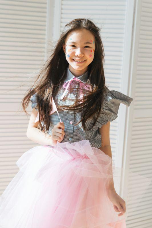 Юбка-пачка с баской розовая на девочку