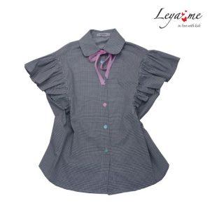 Рубашка детская серая с крылышками на девочку