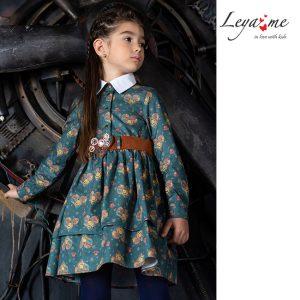 """Принтованное детское платье-рубашка для девочки, с сердцами в стиле """"стимпанк"""""""