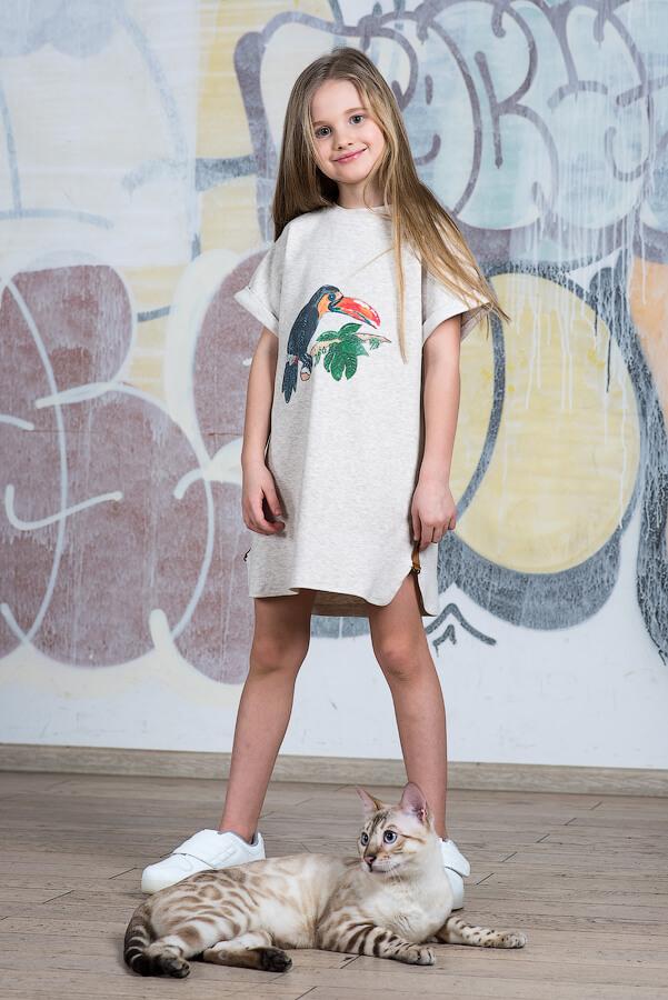 Детское платье-туника с принтом Тукан