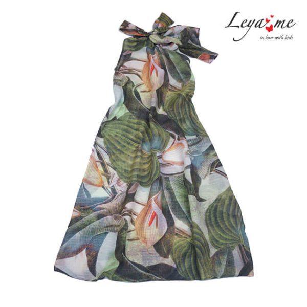 Детское платье-туника с крупными цветами 2021 1