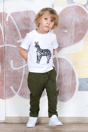 Брюки из трикотажа хаки с декором на коленях на мальчика