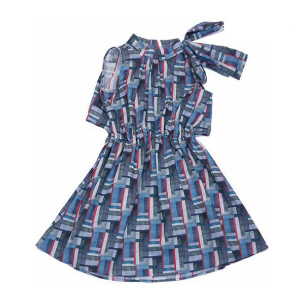 """Платье-туника детское с открытой спиной и бантом завязкой """"Графика"""""""