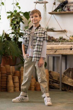 Рубашка в клетку на мальчика с трикотажным воротником
