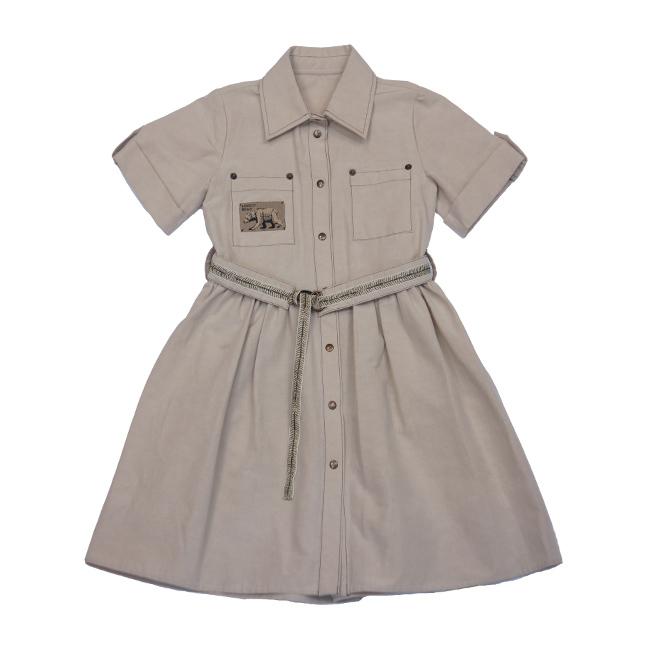 Платье - рубашка на девочку бежевое с нашивкой - медведем
