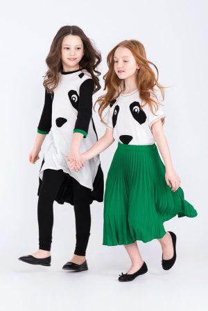 """Футболка детская с цельнокроеным рукавом из белого трикотажа с аппликацией """"Панда"""" на девочку"""