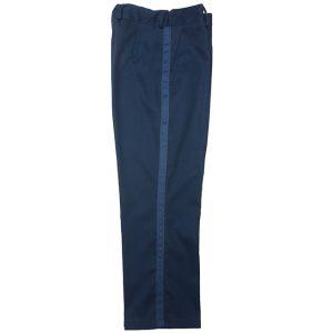 Школьные брюки для мальчика синие с лампасами