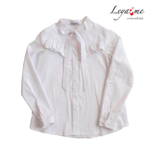 Белая школьная блузка с воланом на лифе и бантом
