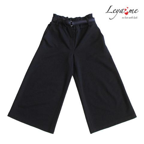 Синие школьные брюки-кюлоты для девочки, с карманами и регулировкой на талии
