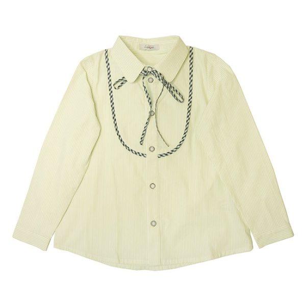 Школьная блузка светло-салатовая с кокеткой и бантом