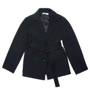 Удлиненный черный школьный пиджак для девочки