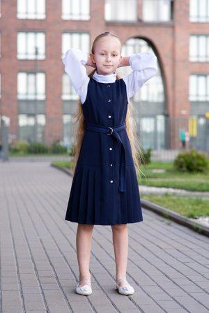 Синий школьный сарафан для девочки, с плиссированными вставками