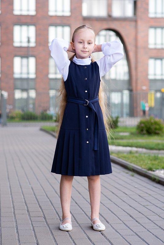 Синий школьный сарафан для девочки