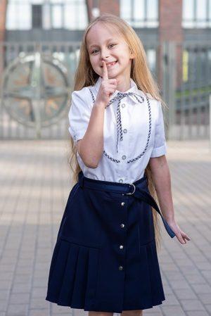 Синяя школьная юбка для девочки, с плиссированными вставками
