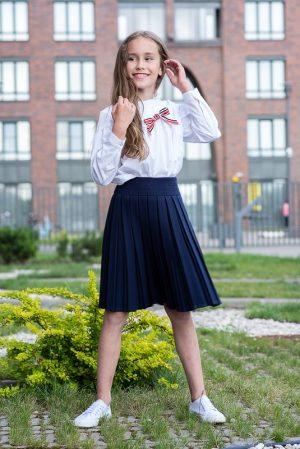 Синяя школьная юбка на девочку на кокетке со складками