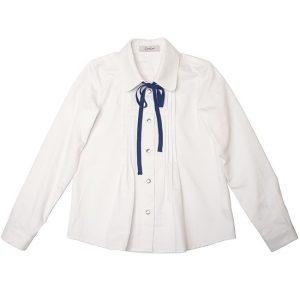 Белая школьная блузка с защипами